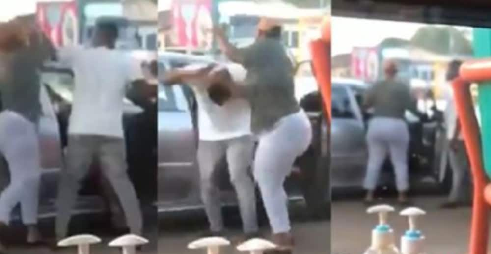 Drama as wife fights cheating husband 'chilling' in town with his side chick (Video)