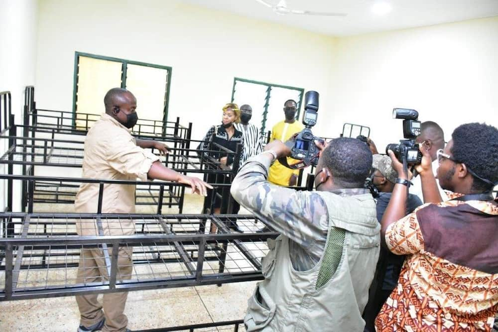 The Vice President, South African High Commissioner and CEO of MTN Ghana inspecting one of the dormitories