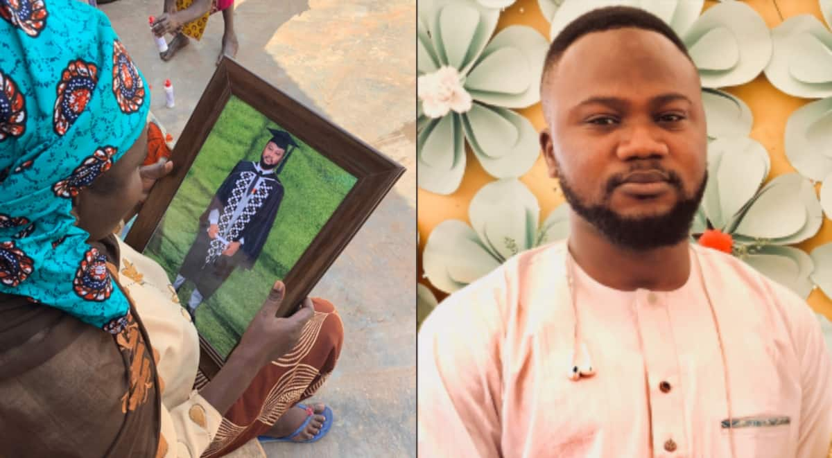 Proud son takes grad photo to mum in Tamale after she missed ceremony; stirs powerful reactions
