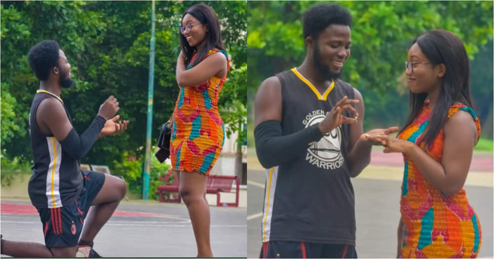 Save the date: Handsome Man Proposes to Pretty Girlfriend; Viral Photos, Video Heap Mixed Reactions