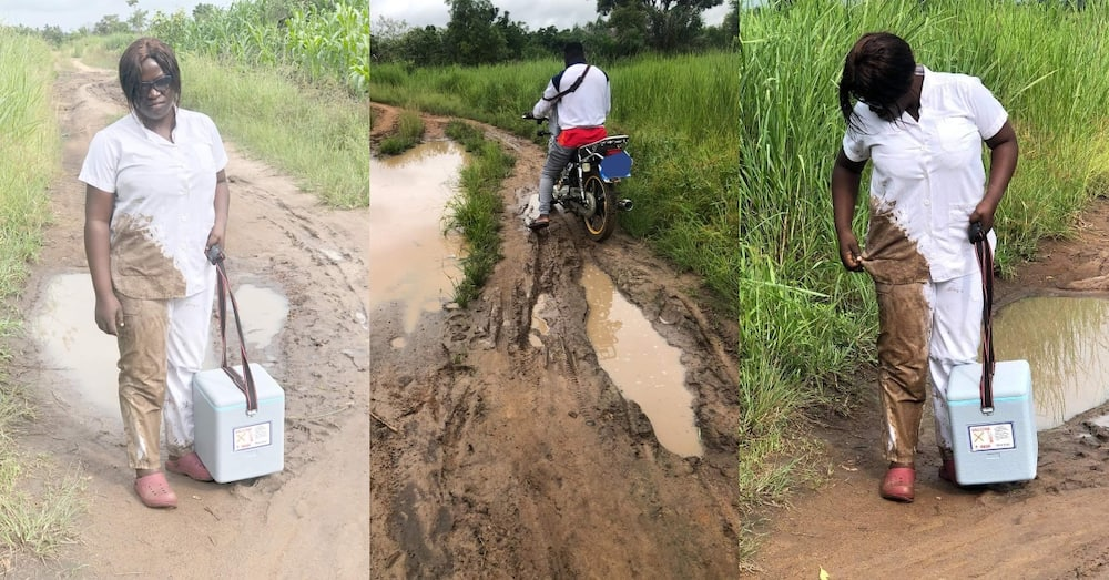 Blessed Angel: Ghanaian Community Nurse falls in mud Whilst on way to give Emergency Service