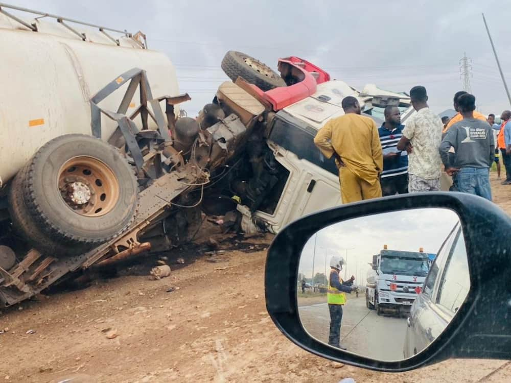 Tipper truck and fuel tanker collide on Tema Motorway after Friday's accident