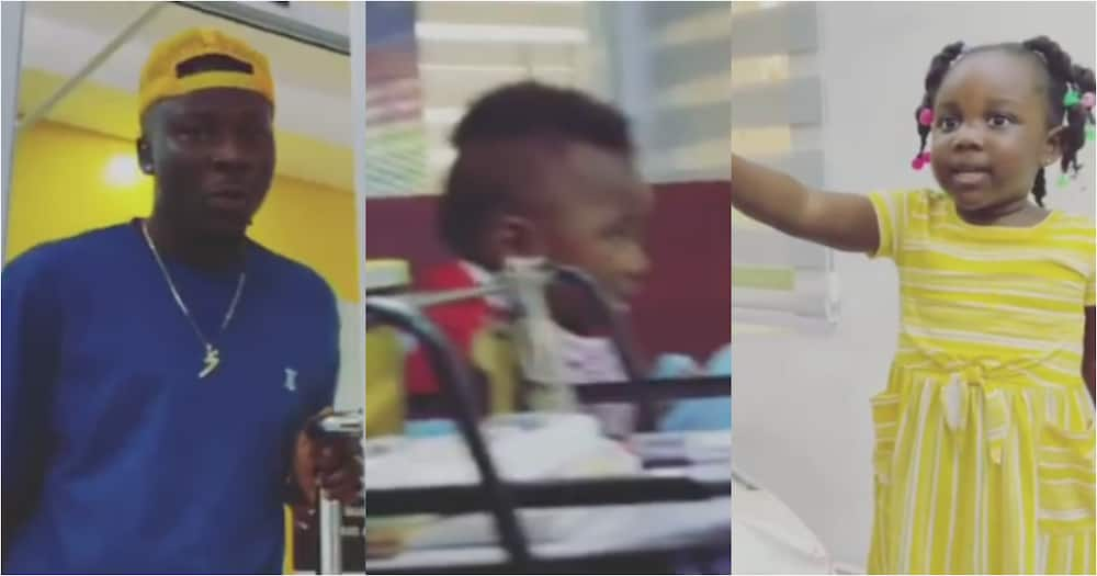 That's my baby - Stonebwoy's daughter Jidula boldly tells him as she gushes over cute boy