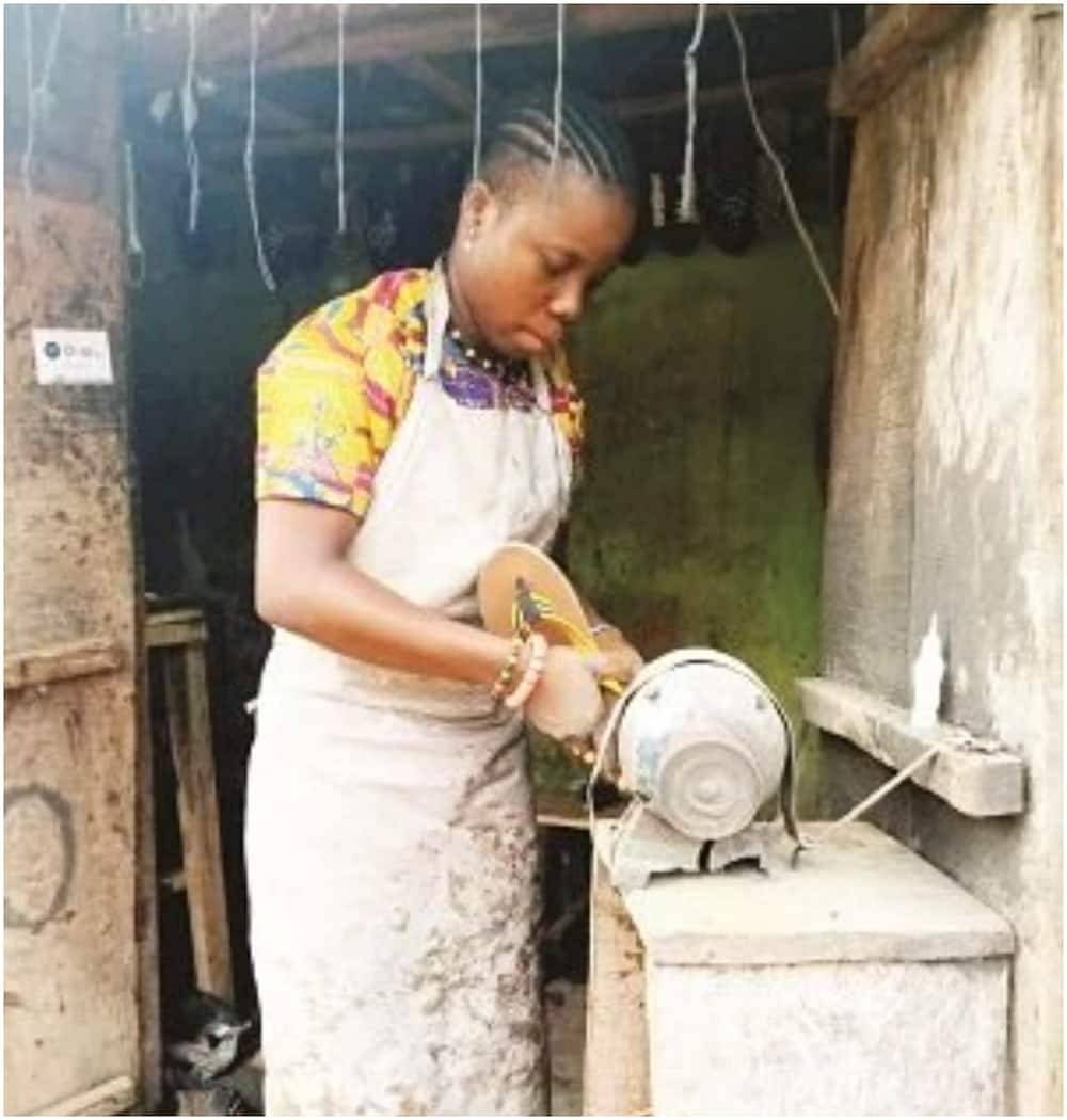 Happiness Nwanna: 22-year-old lady who dumped academics for shoemaking