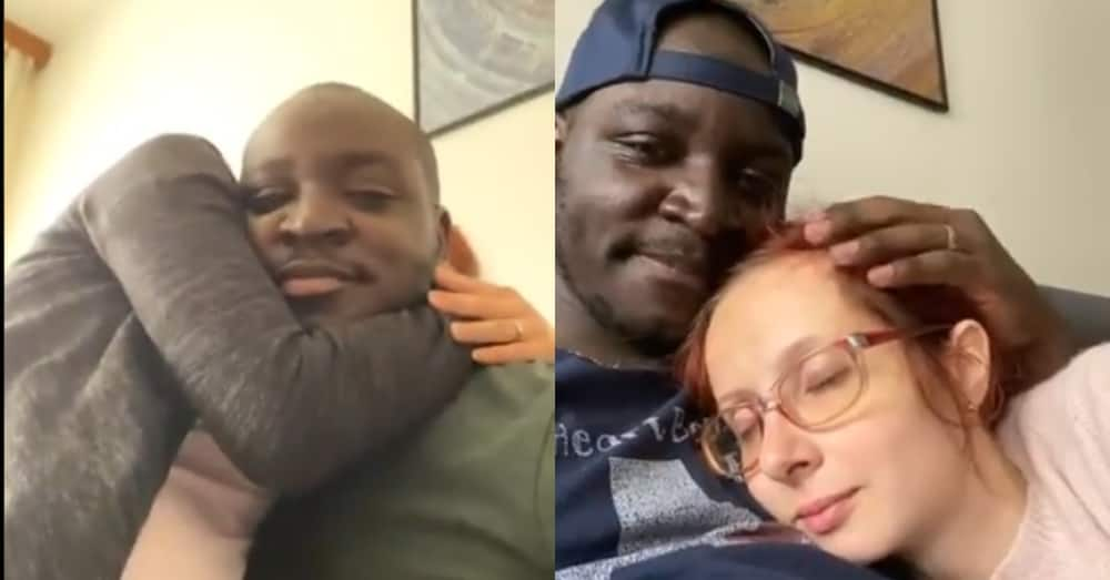 Odo bi y3d3: Ghanaian Shares Video of his Foreign wife Refusing to stop Cuddling him