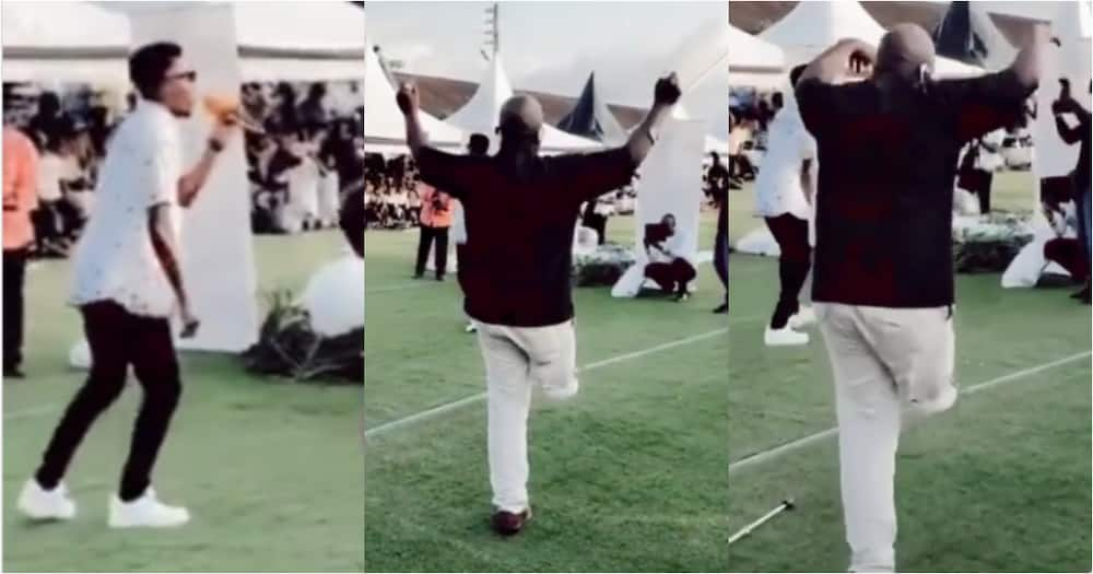 Physically challenged man boldly abandons crutches to dance as Kofi Kinaata performs Susuka