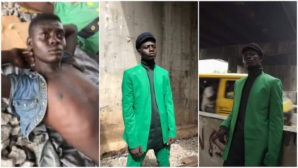 Nigerian man who turned model after sleeping under bridge in Lagos becomes a celebrity, opens Twitter account
