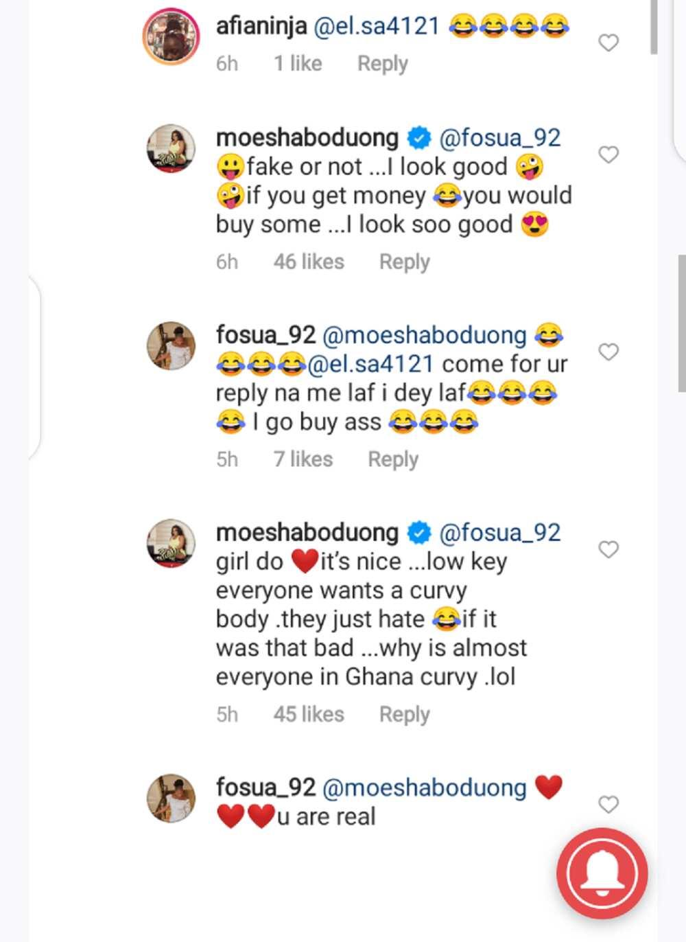 Moesha replies fan who said Hajia Bintu is 'natural' and she is 'fake'