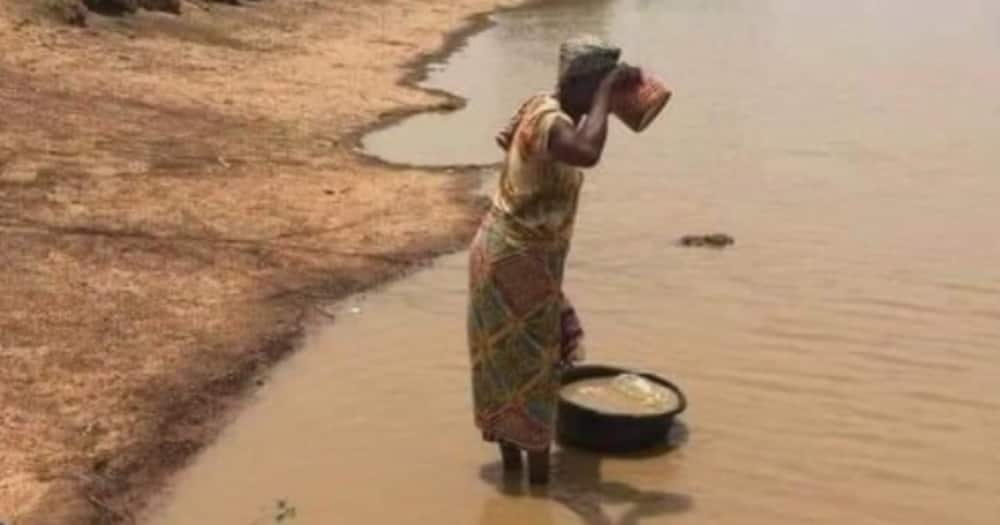 Many React as Netizen Hails a Woman for Drinking Mud Water