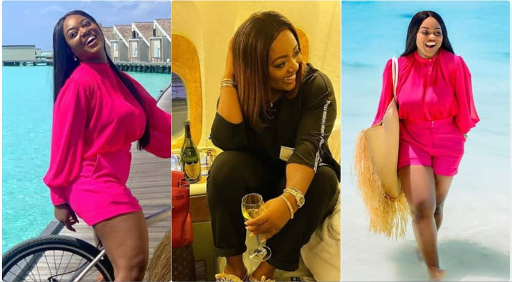 Jackie Appiah's casual dress with kicks earns her praises from fans (Photo)