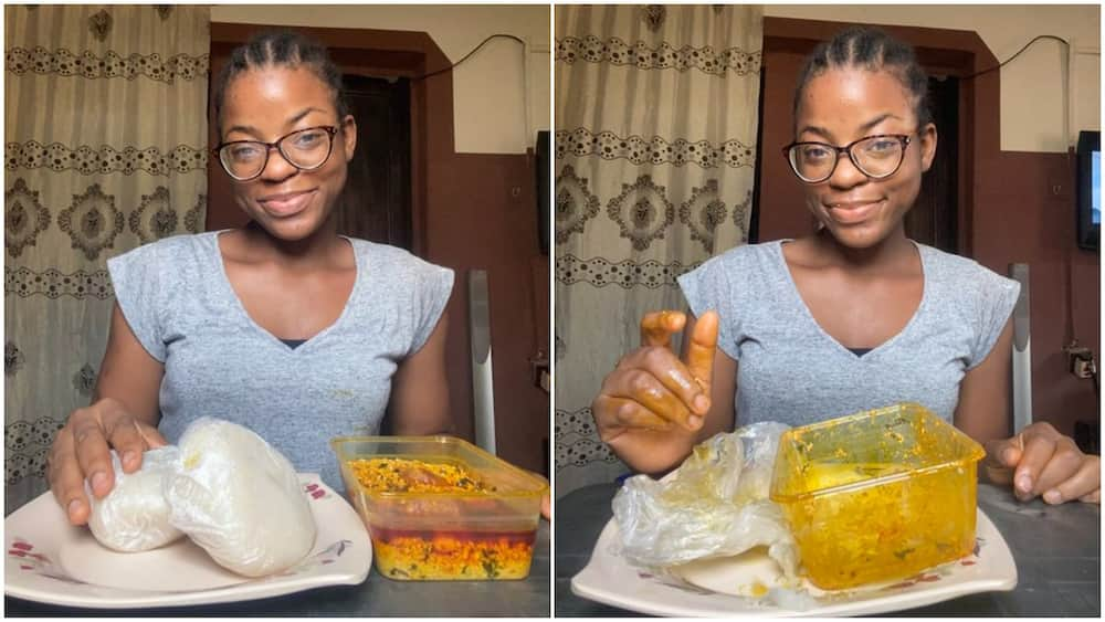 Nigerian lady finishes 2 big wraps of fufu with full plate of eguisi soup, photos spark reactiions