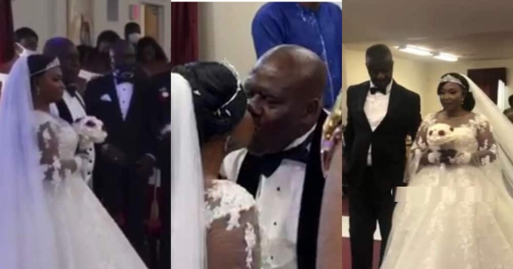 Kyeiwaa and her husband at their white wedding in America
