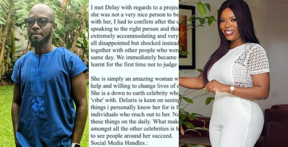Top Ghanaian Presenter Delay shares her Manager's post where he wrote about the kind of Person she is