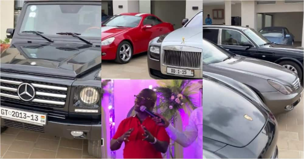Double D: First video of Ghanaian millionaire's garage with luxurious cars pops up