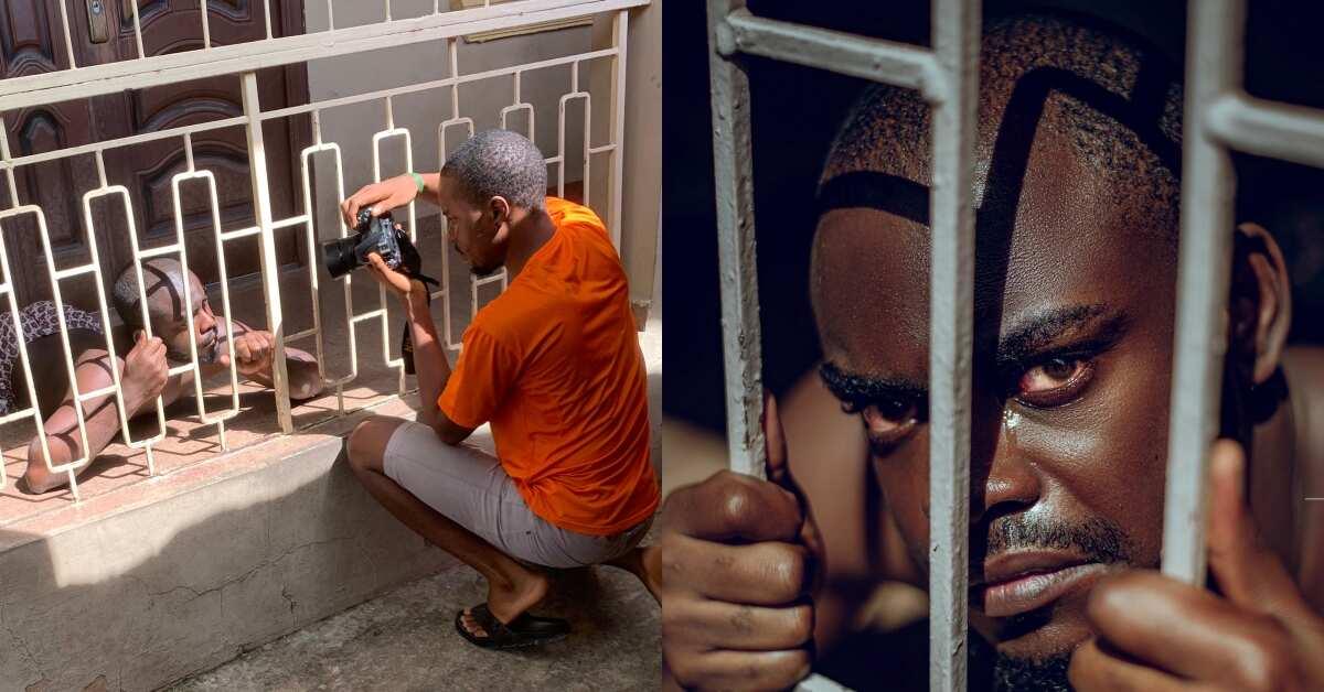 Creative photographer takes emotional prison photo using burglar proof; goes viral