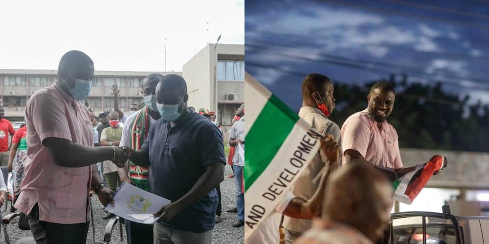 John Dumelo files nomination forms; photos drop as supporters cheer him on