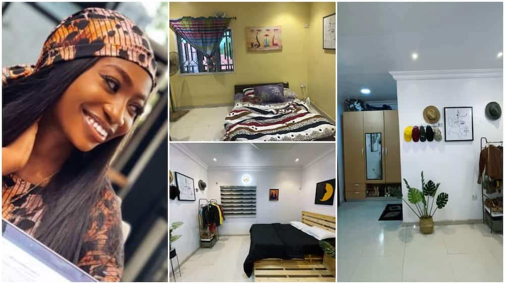 Nigerian lady upgrades her humble room into a stylish space, shares photos