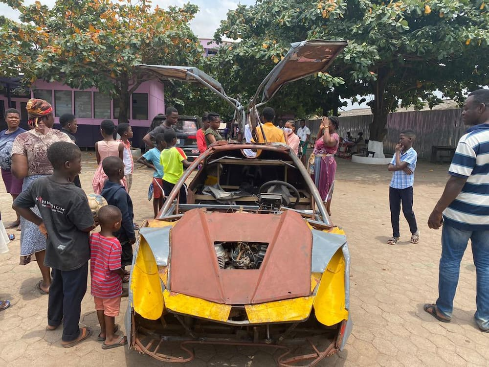 BECE candidate builds Lamborghini-like car; takes it to school on last day (video)
