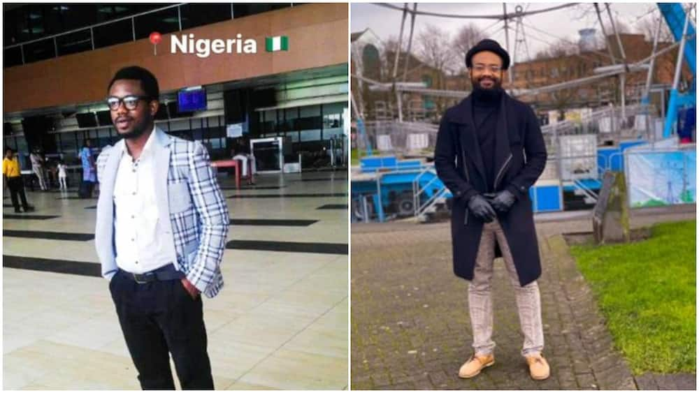 Young man who left Nigeria for UK years ago shares transformation photo, his new look surprises many