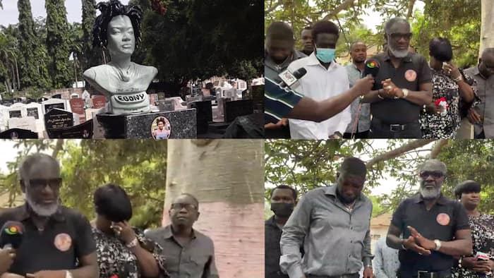 Ebony's mother breaks down as family visit singer's tomb on 3rd anniversary; sad video drops