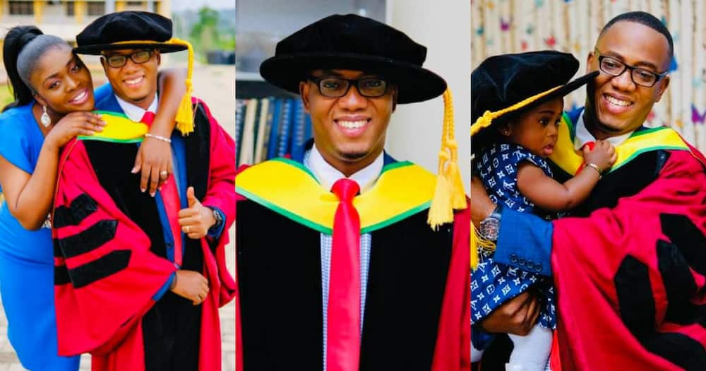Joy as Ghanaian dad bags PhD from KNUST, shares adorable family with wife and daughter