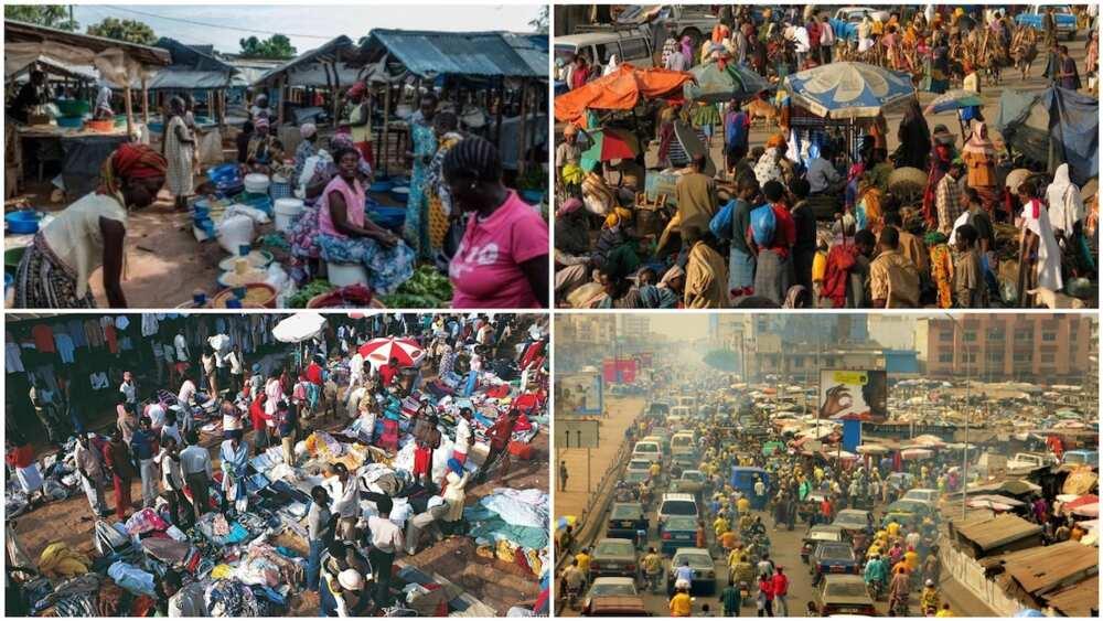 A collage of busy markets in South Sudan, Rwanda, Senegal, and Kenya. Photos sources: TripAdvisor/DiscoverWalks