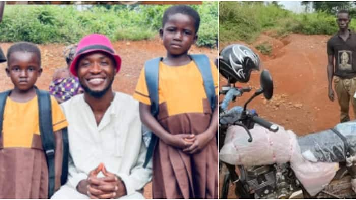 Teacher Kwadwo gives new motorbike, uniforms, other items to 2 girls in a village to start school