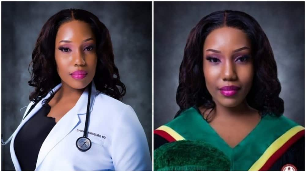 A collage of pictures showing the young doctor. Photo source: Twitter/Chioma Ikwuegbu