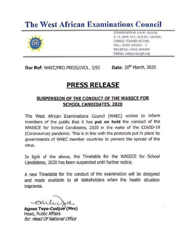 WAEC suspends WASSCE 2020 until further notice over COVID-19 fears