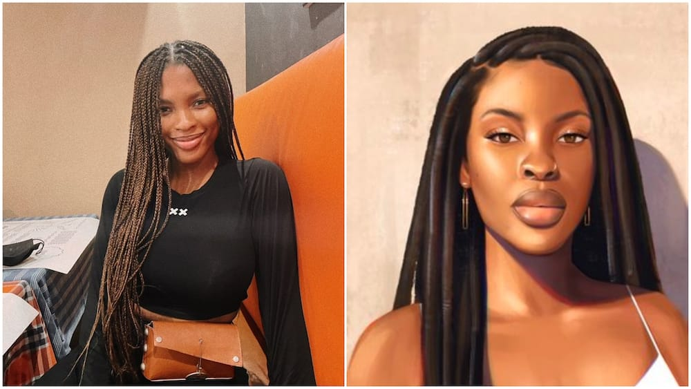 Nigerian lady paints herself to celebrate her birthday, photo of artwork wows many