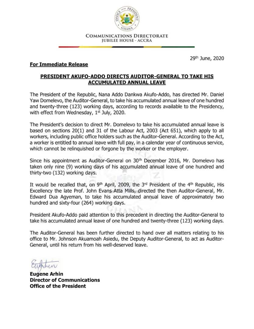 Akufo-Addo directs Auditor-General to take accumulated leave