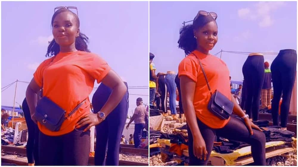 May God Bless You With Boutique: Reactions As Nigerian Lady Starts Selling Clothes by Roadside in Lagos