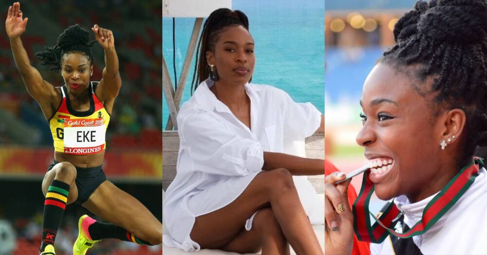 Watch Ghanaian athlete Nadia Eke's pre-jump routine as she jams to Shatta Wale's Taking Over