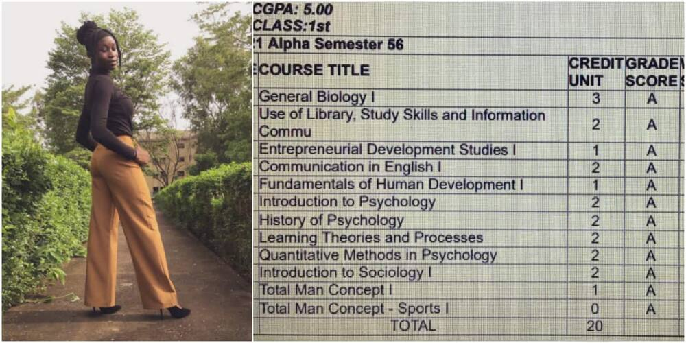 Do am if e easy: Cute Nigerian lady celebrates getting 5.0 CGPA after scoring A in all her courses, many react