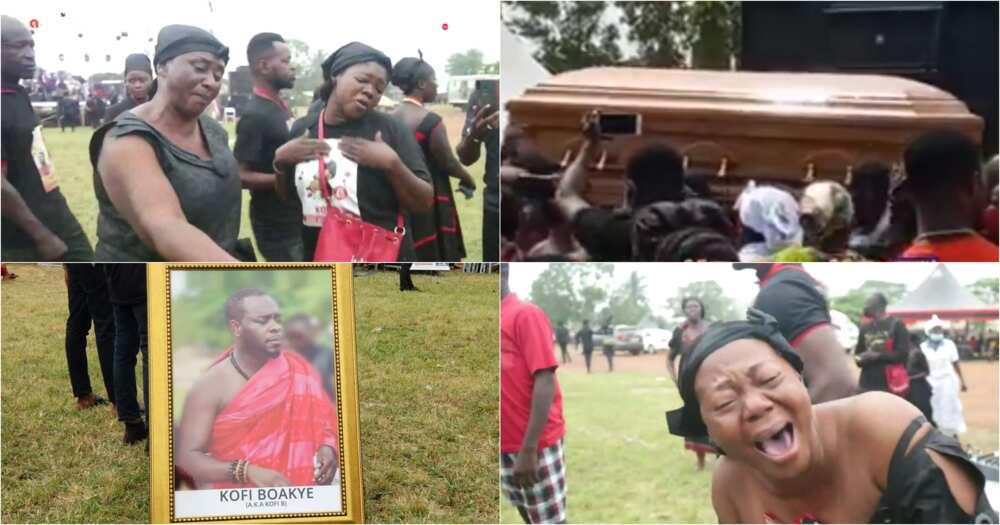 Kofi B: Tears flow as Highlife singer's coffin is carried away