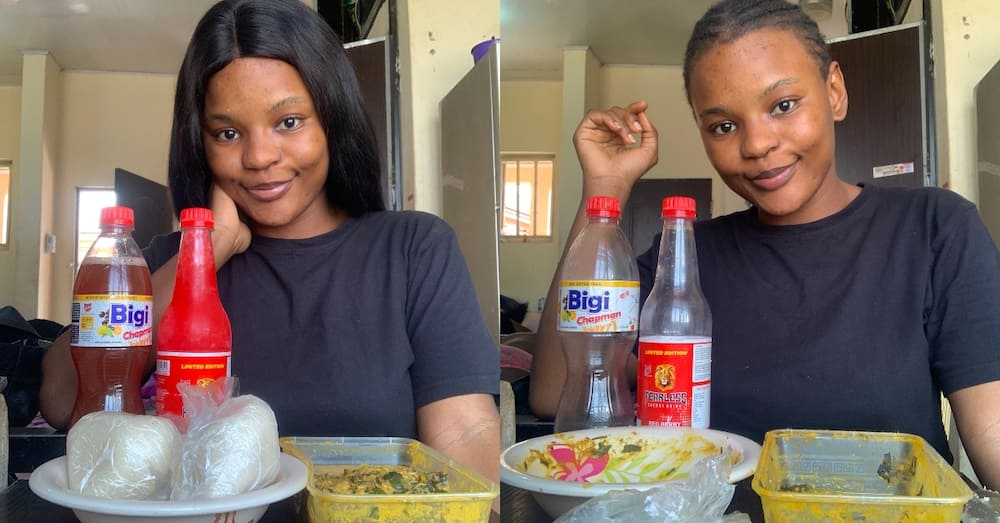 Fine girl demolishes 2 mountains of banku with large river of okro stew & drinks