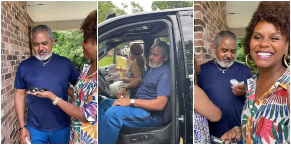 Sweet Moment Man Wept Uncontrollably as His Daughter Stunned Him With a Car Gift after 48 Years of Service
