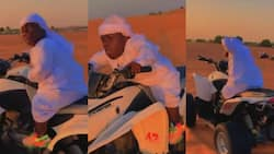 Shatta Bandle jets off to Dubai; spotted riding motor bigger than him in new video