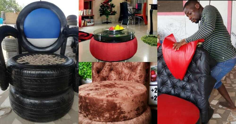 Bernard Nartey: Meet the Ghanaian artisan who converts used tyres into beautiful furniture