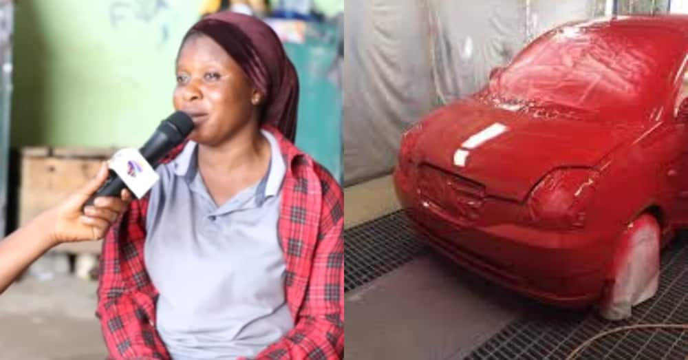 Meet the Ghanaian mother of 3 who has been spraying cars for 20 years