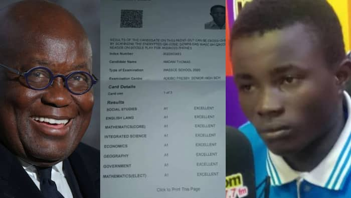 Needy Adeiso SHS boy with 8As in WASSCE to study in UK after Akufo-Addo's intervention