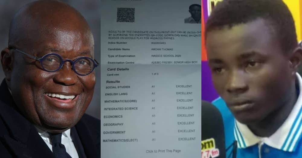 Thomas Amoaning: Adeiso SHS boy with 8As in WASSCE to study in UK after Akufo-Addo intervention