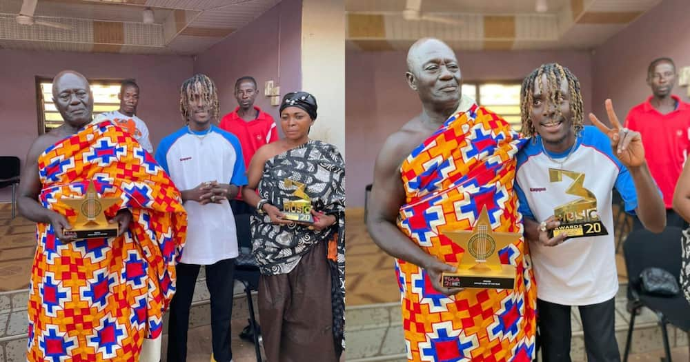 Rapper Kofi Mole mobbed as he visits chief of his hometown in new video