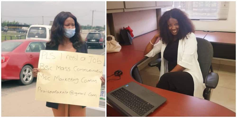 Female Graduate Who Had Hit the Street with Cardboard to Beg for Job Finally Gets a Job, Shares Office Photo