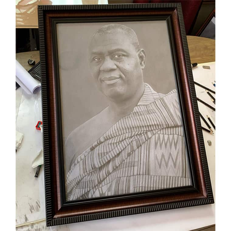 Ghanaians react with love as Incoming CJ receives surprise artwork from pencil artist