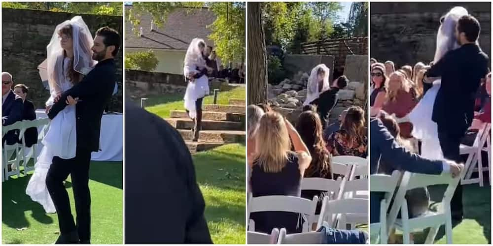 Reactions as man carries physically challenged 'bride' from entrance to altar in viral video
