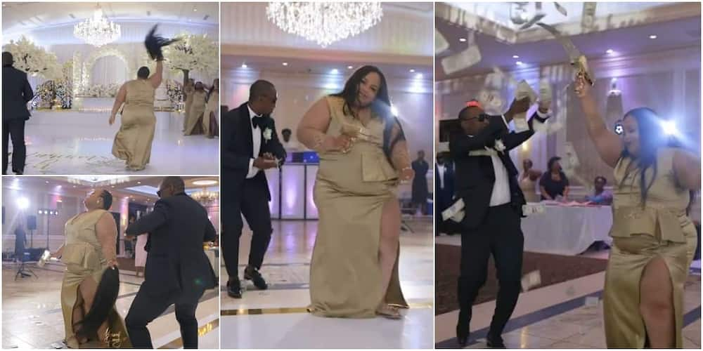 Lady causes stir at wedding, 'scatters' dance floor with cool moves as she removes her wig, shoots dollars in video