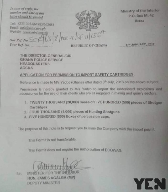 Mahama's minister signed and agreed importation of guns into Ghana 2 days before exiting office - Government