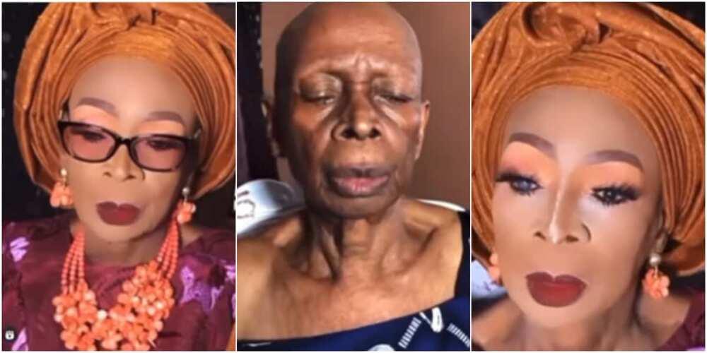 A makeup artist transformed the woman's face