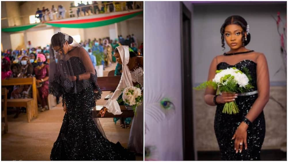 Photo of lady in black wedding dress stirs massive reactions form Nigerians